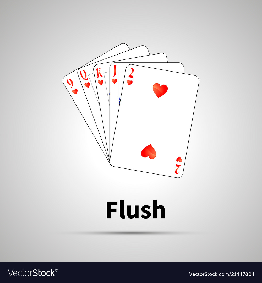 Flush Poker Combination With Shadow Royalty Free Vector