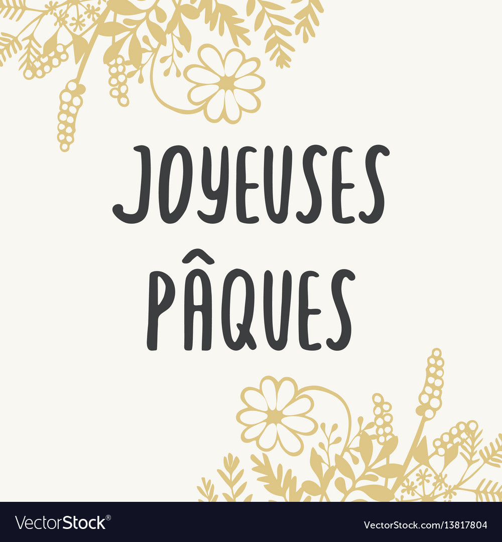 French easter greeting card joyeuses paques with
