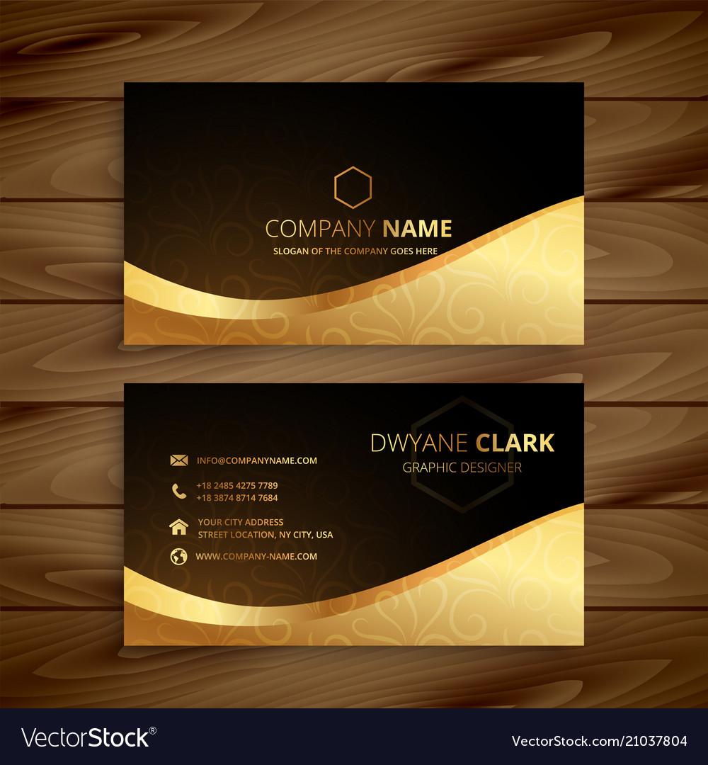 luxury golden premium business card design vector image