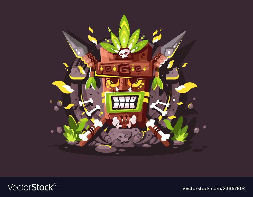 Magic totem with bones and skulls