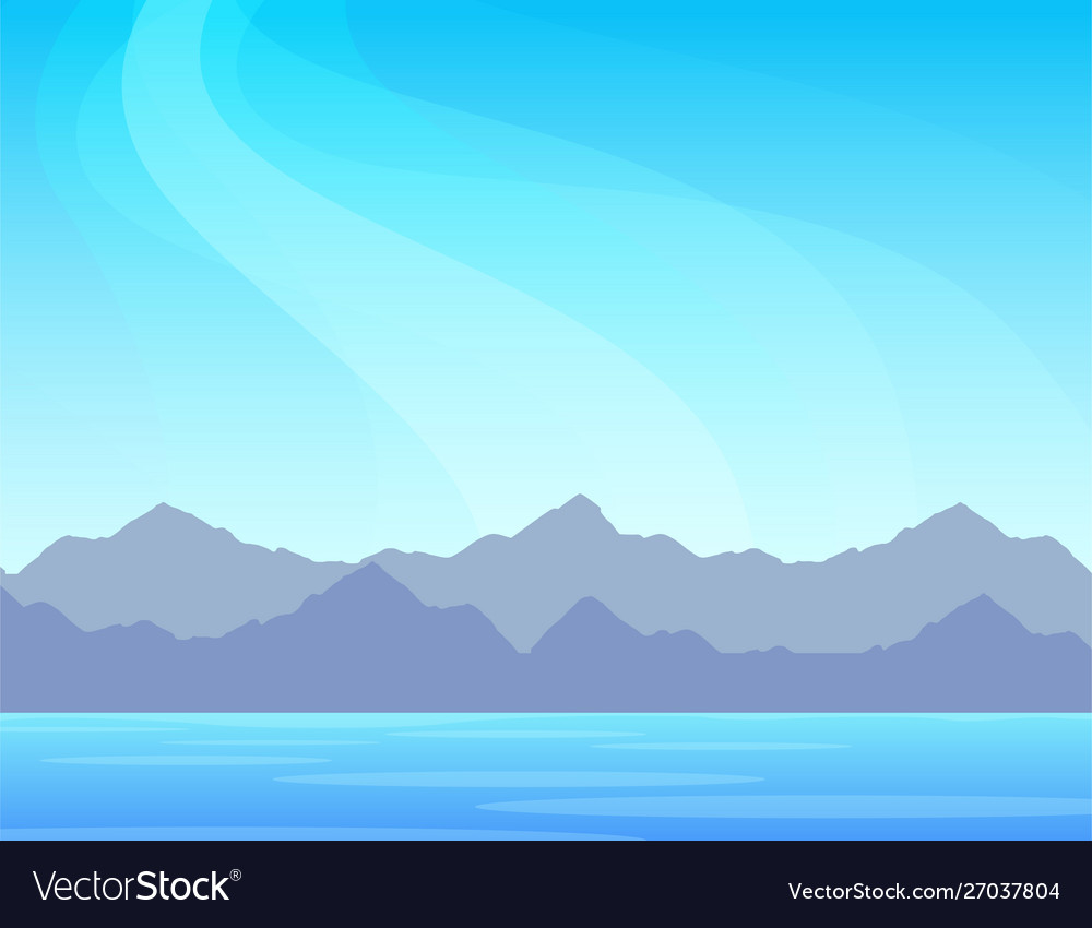 Nature panorama with mountains on a sea scenic