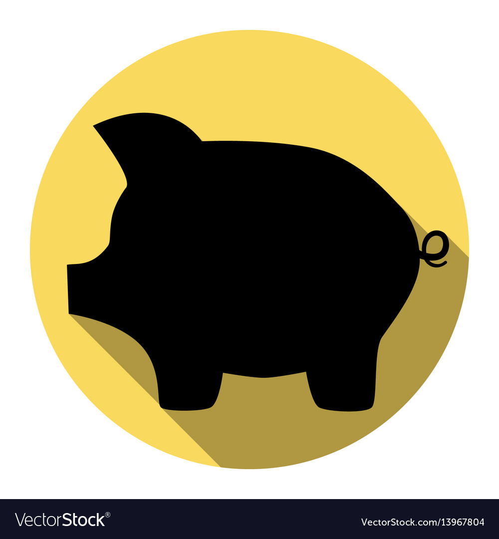 Pig money bank sign flat black icon with