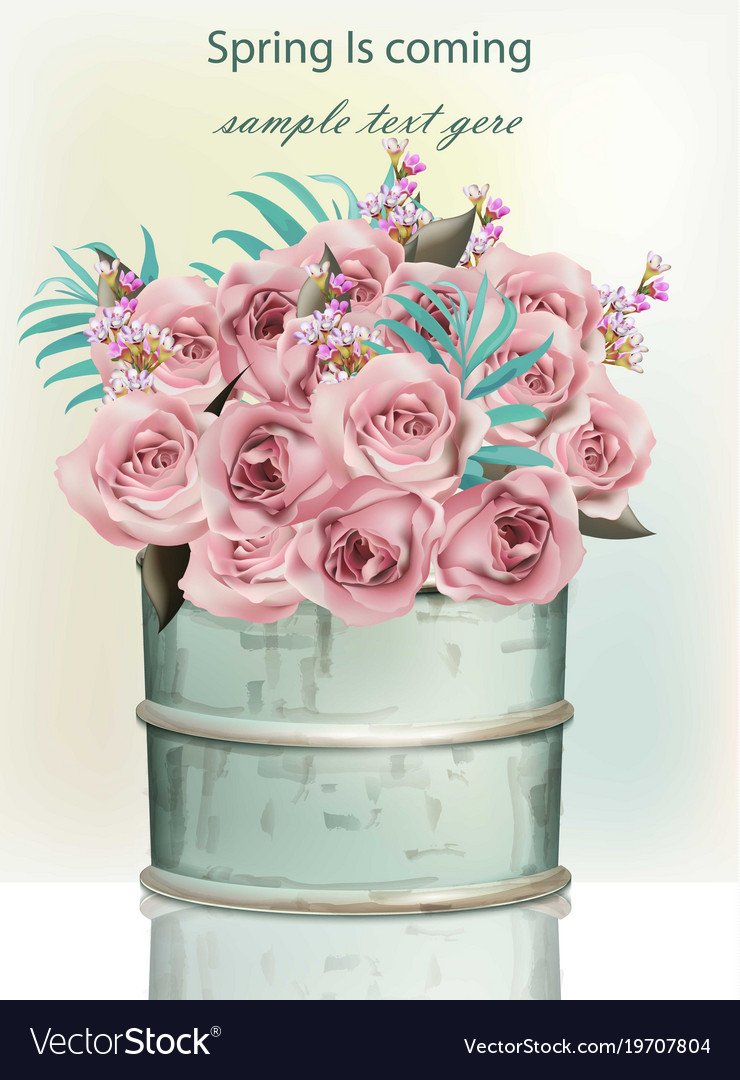 Pink rose flowers bouquet in a vintage vase