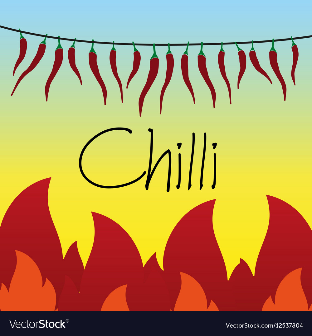 Red hot chilli peppers drying on string and flames vector image