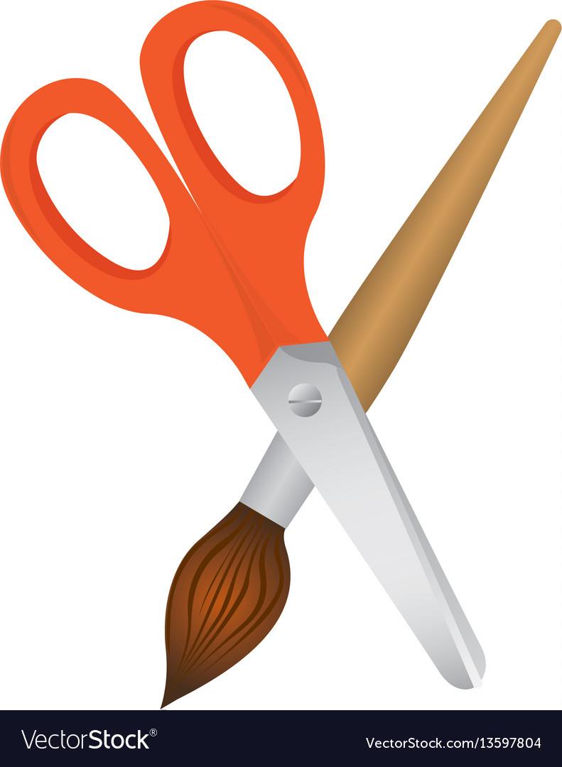 Scissor with paint brush icon vector image