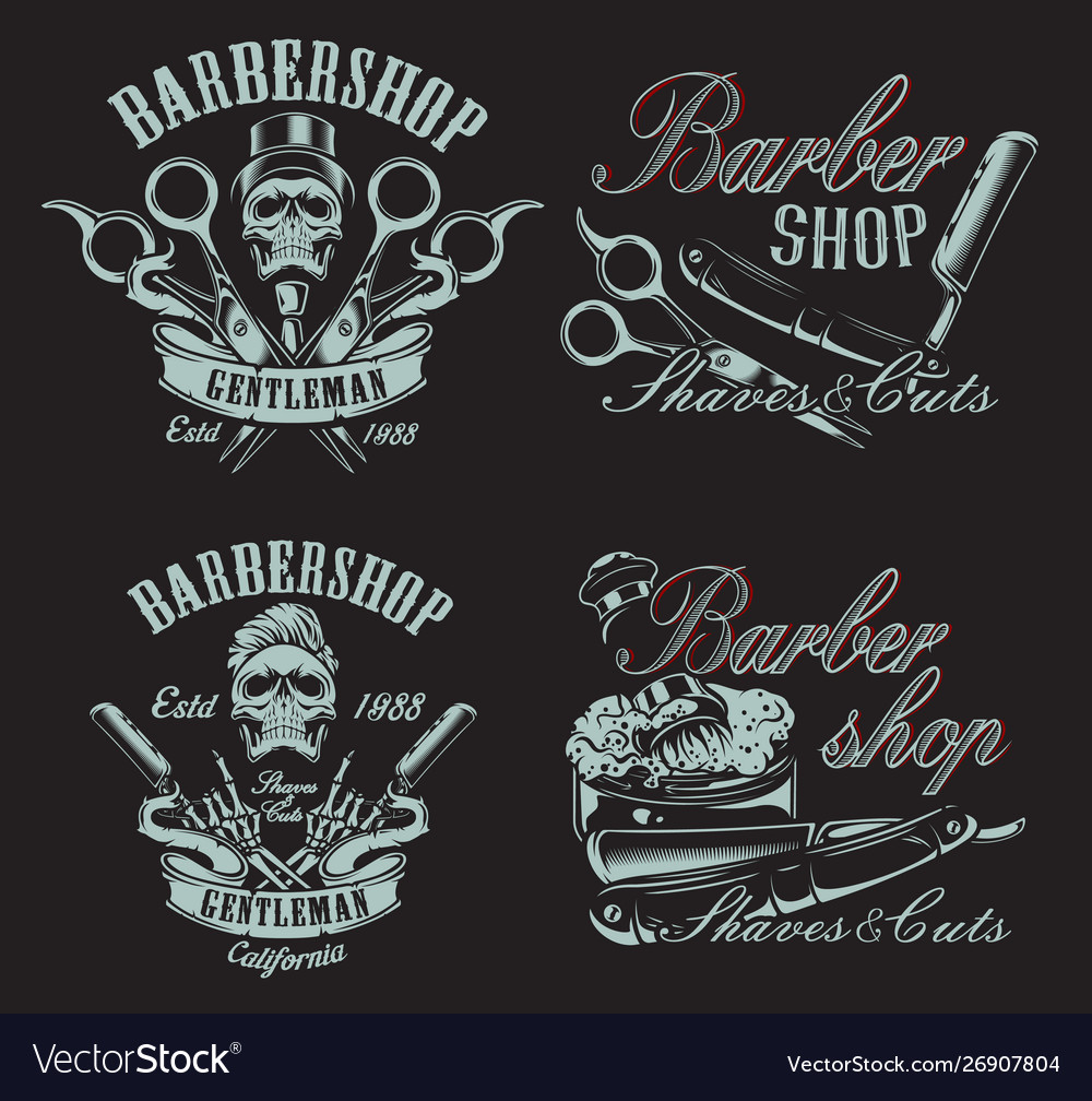 Set in vintage style for barbershop with