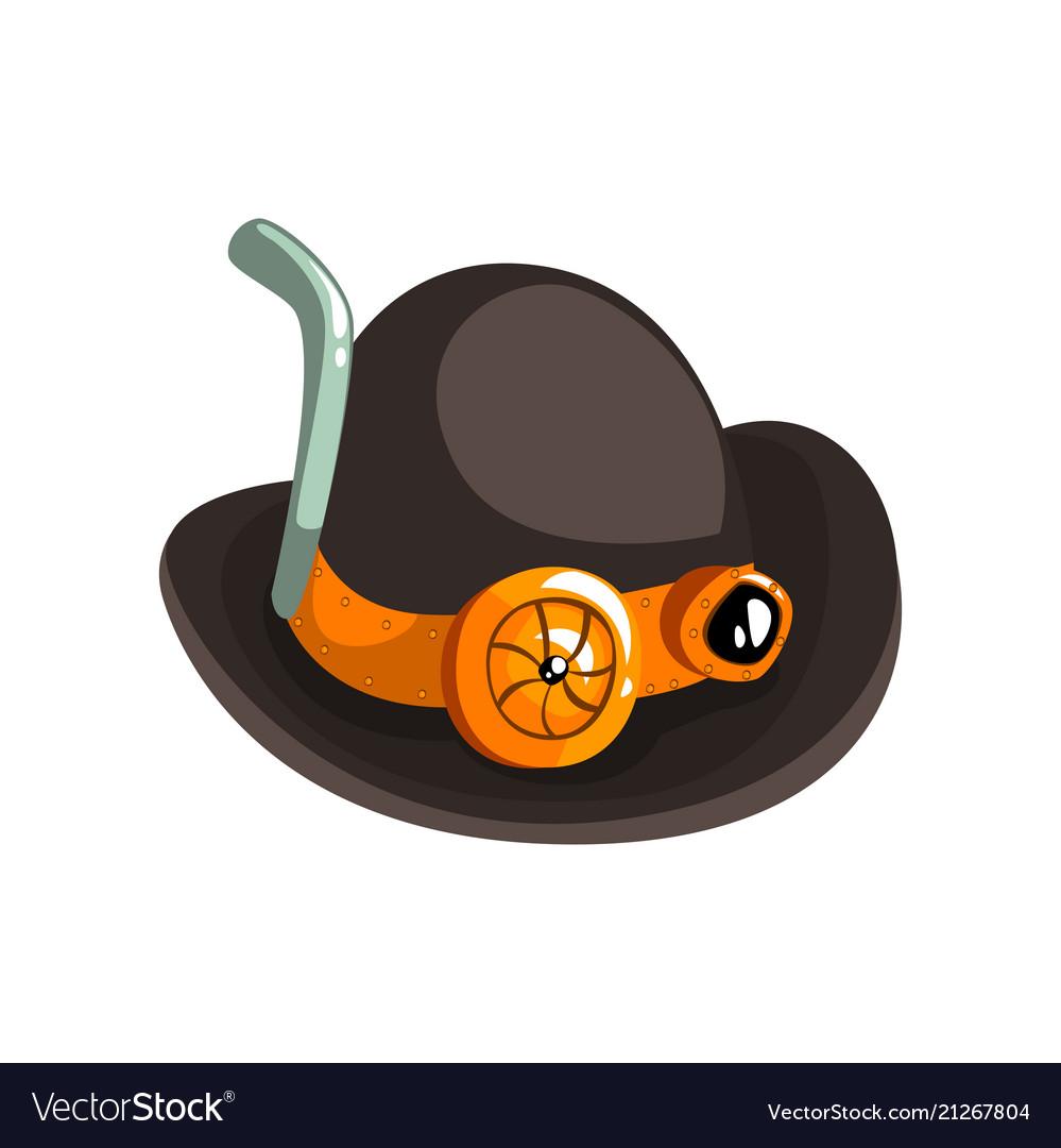 Steampunk black retro hat antique mechanical