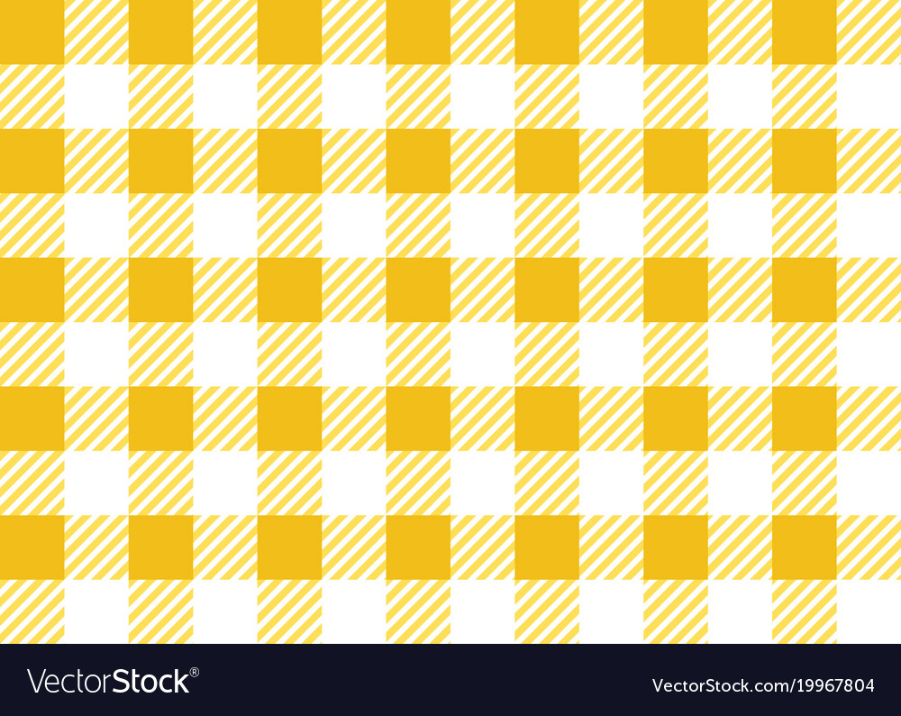Yellow And White Gingham Tablecloth Seamless Patte Vector Image