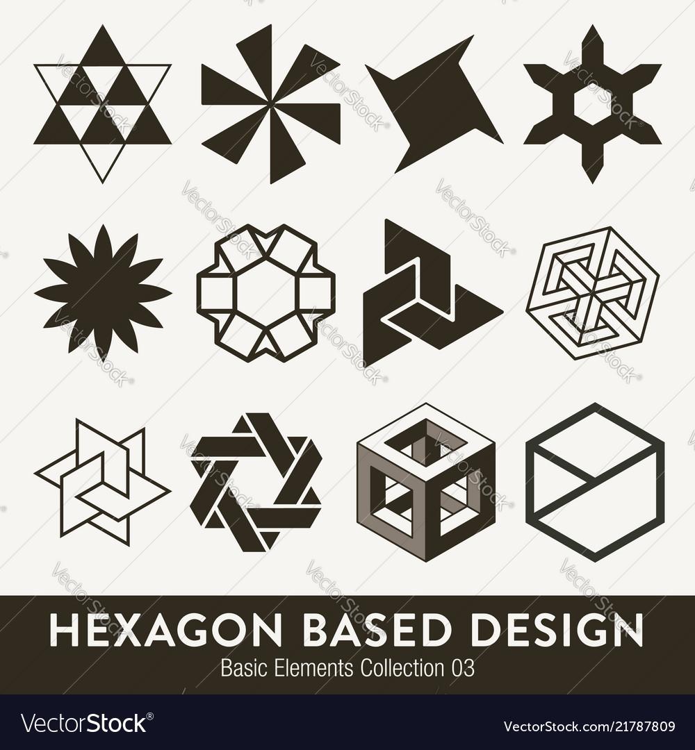 Basic design collection hexagon based elments