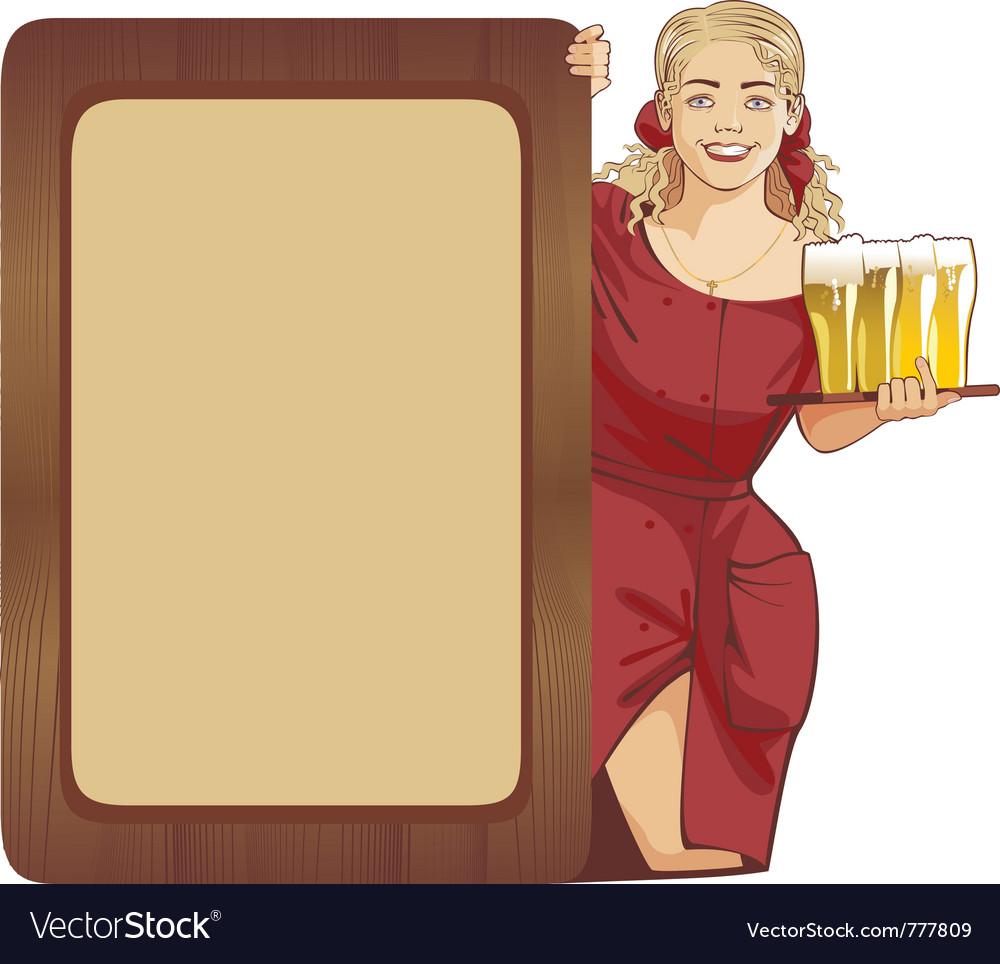 Blond waitress beer vector image