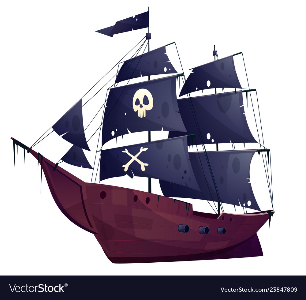 Cartoon pirate ship boat with black sails