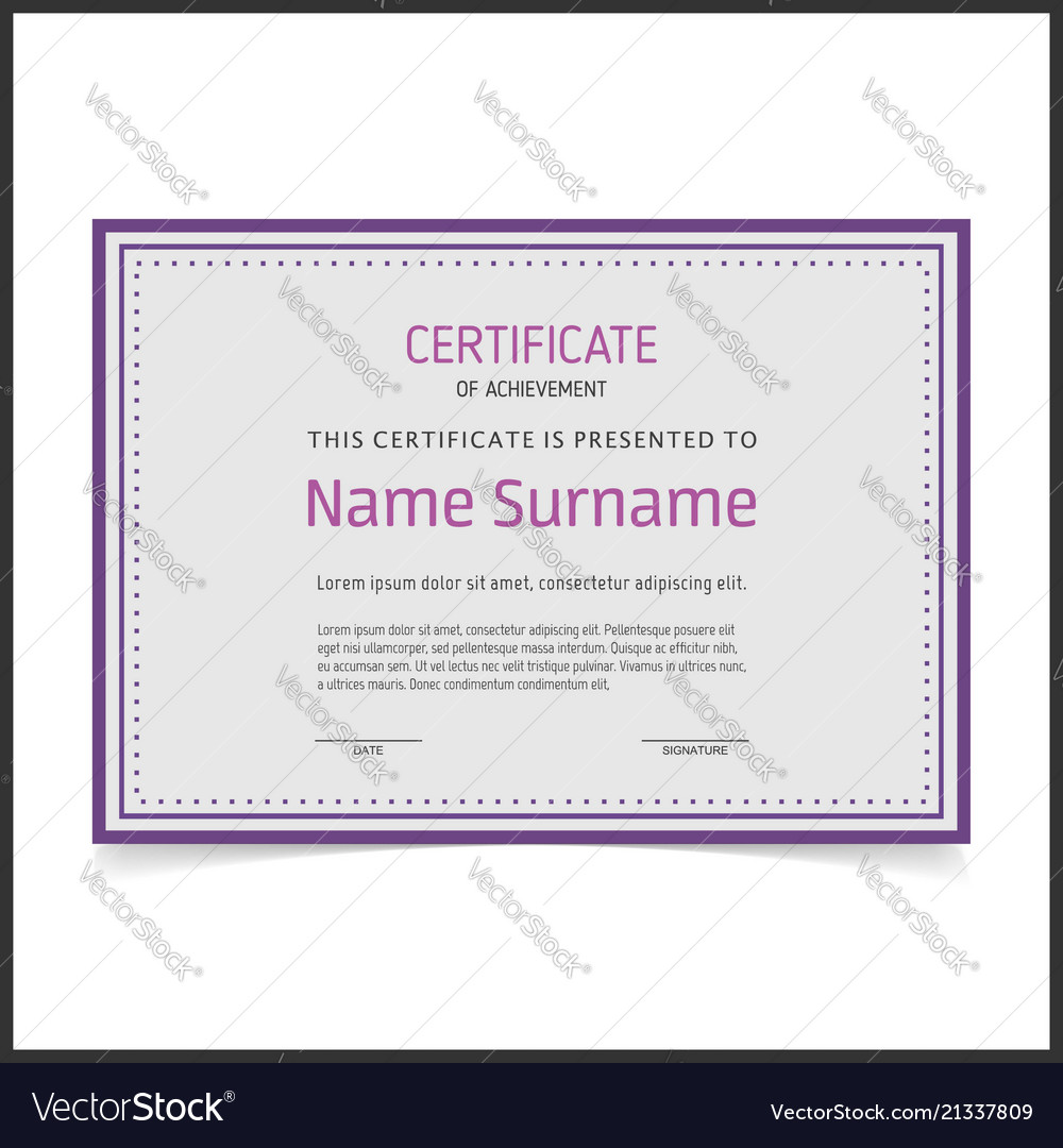 Certificate template with purple borders vector image yelopaper Gallery