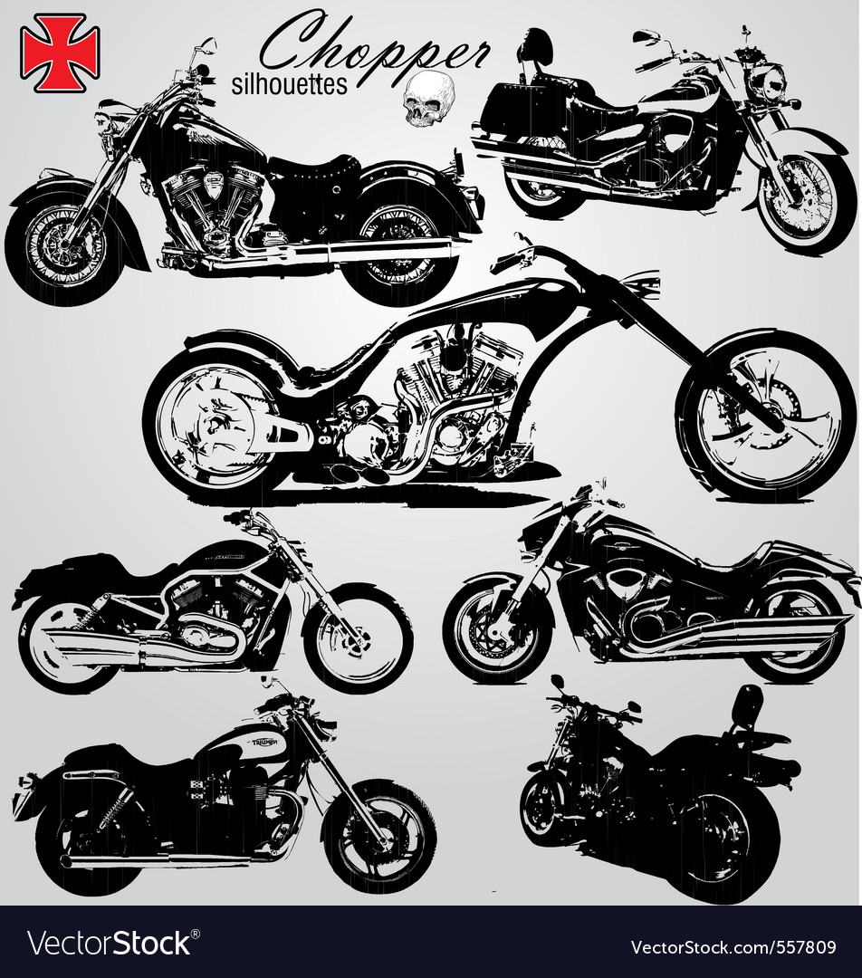 Chopper motorcycles silhouetes vector image