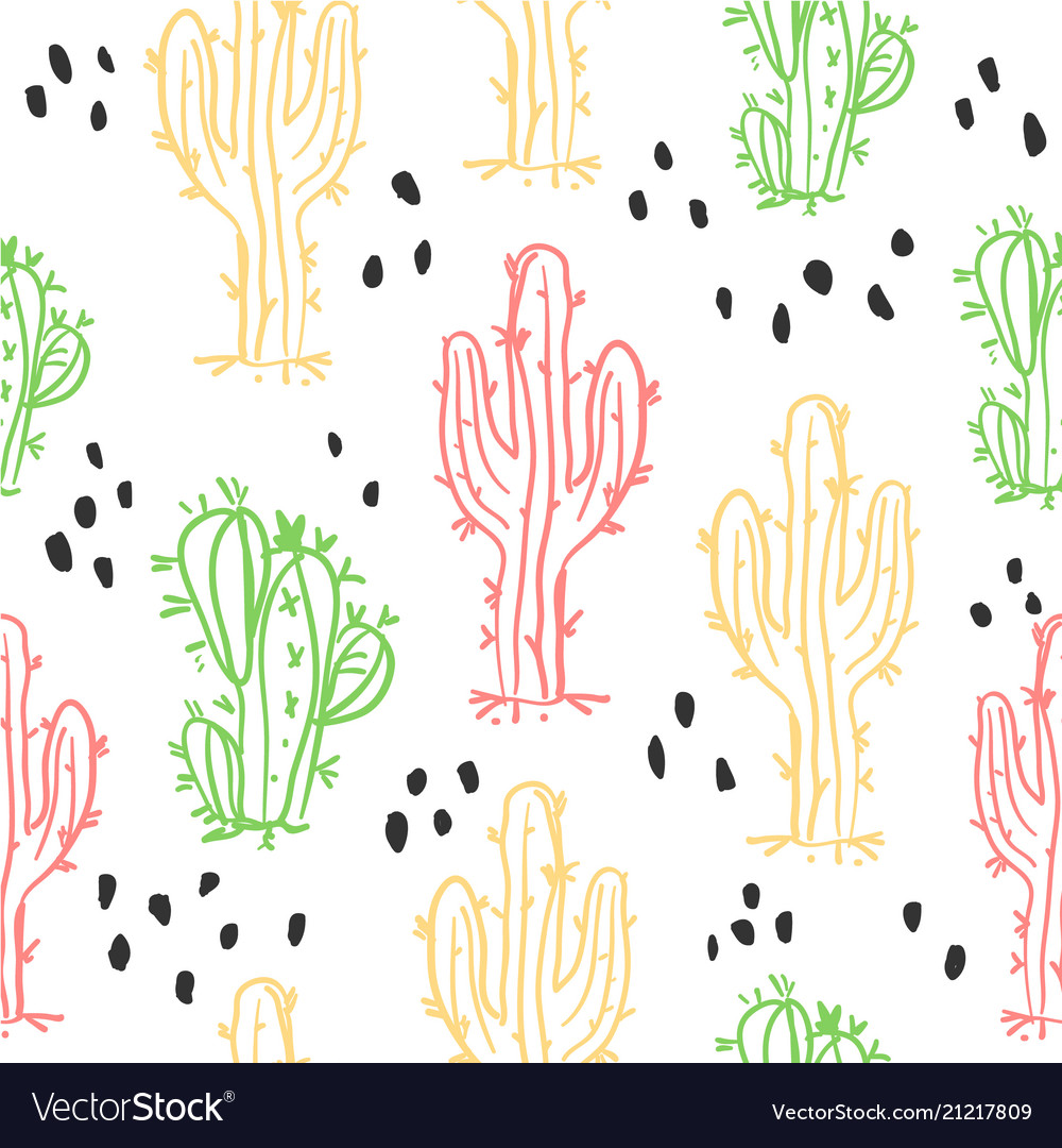 Cute hand drawn cactuses and succulents pattern