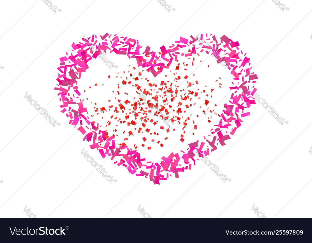 Heart confetti isolated white background fall red