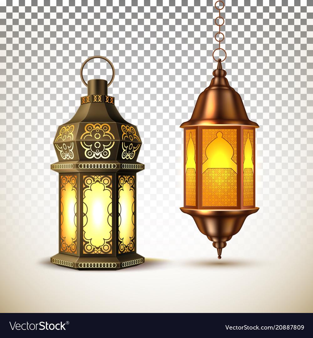 ramadan kareem lamp lantern realistic royalty free vector vectorstock