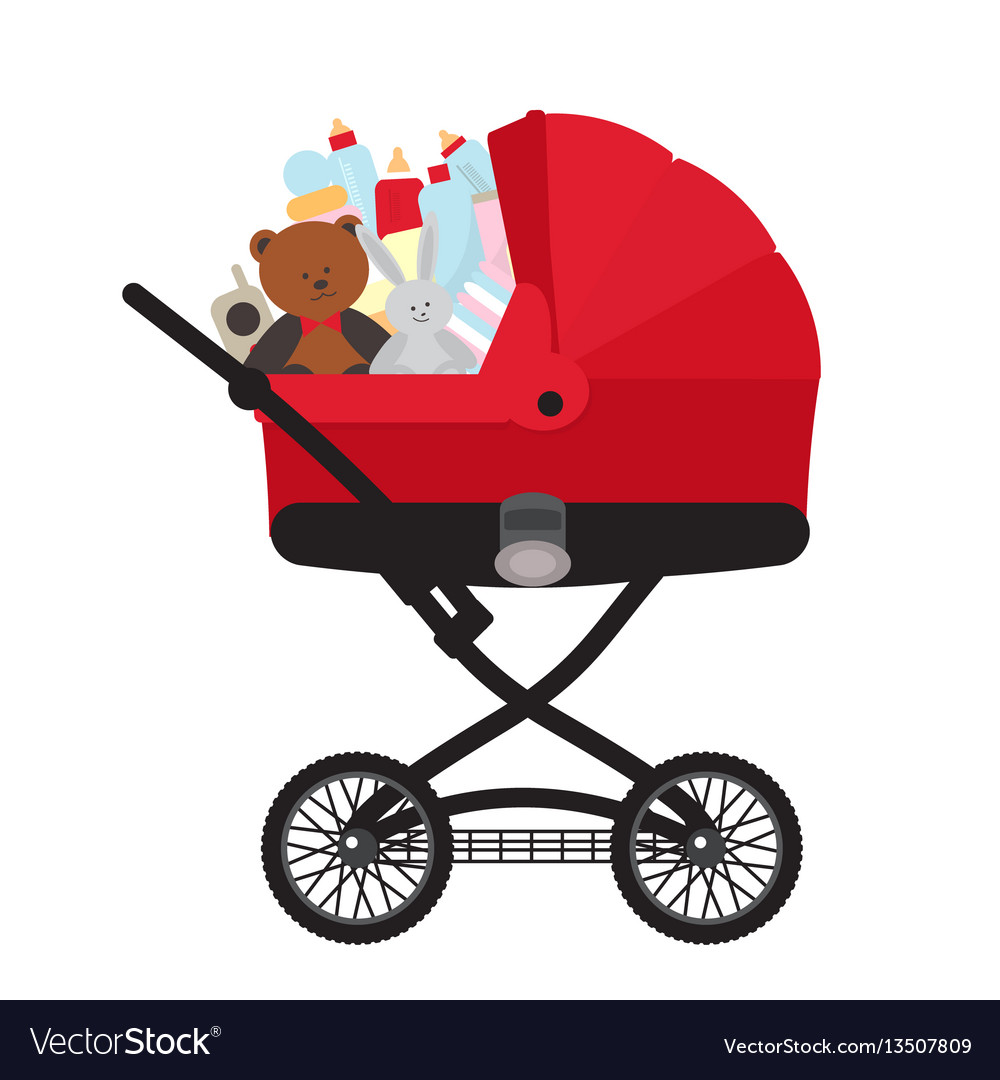 Red child carriage with baby accessories vector image