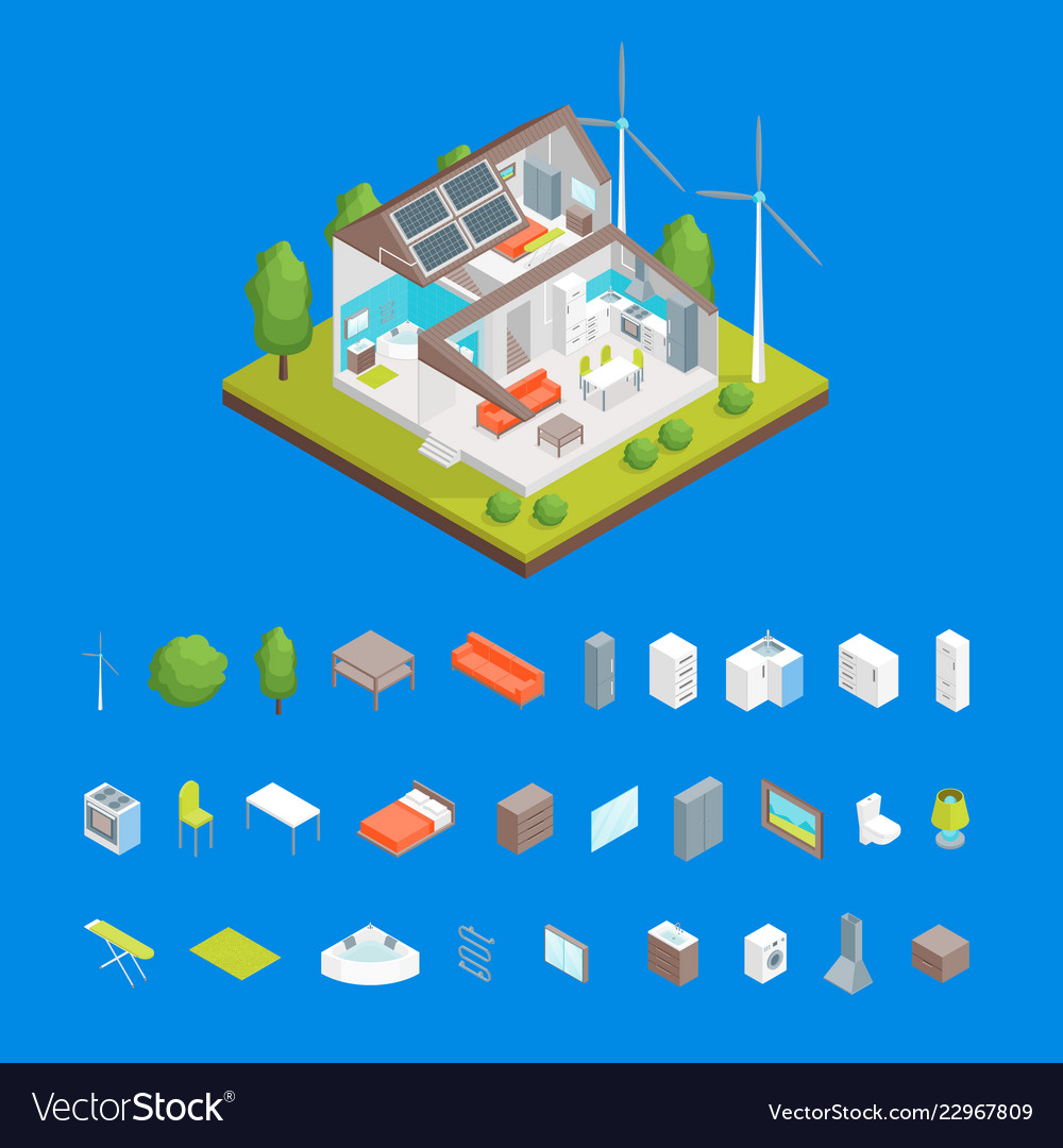 Solar cell system in home and elements concept 3d
