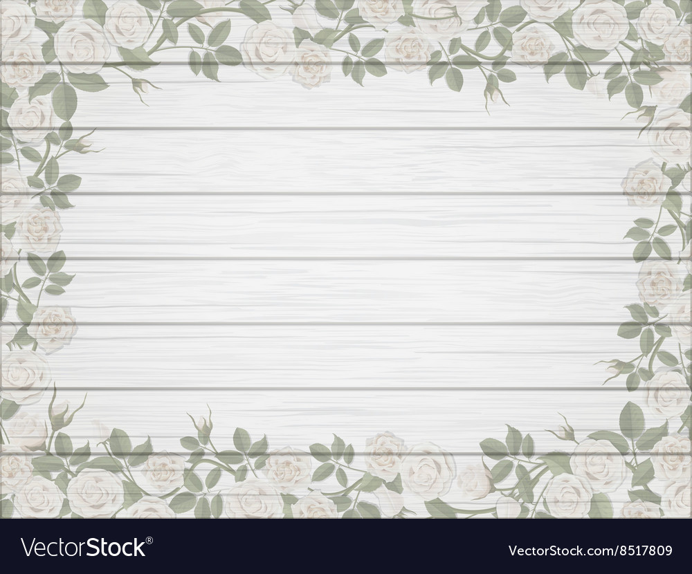Vintage border of white roses on wooden background vector image