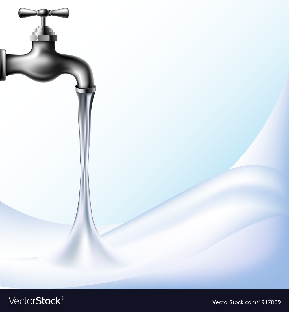 Water background with tap vector image