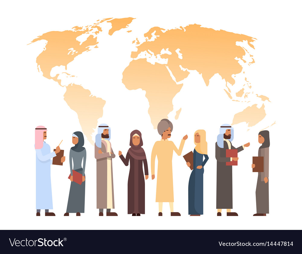 Arab man and woman group over world map islam vector image