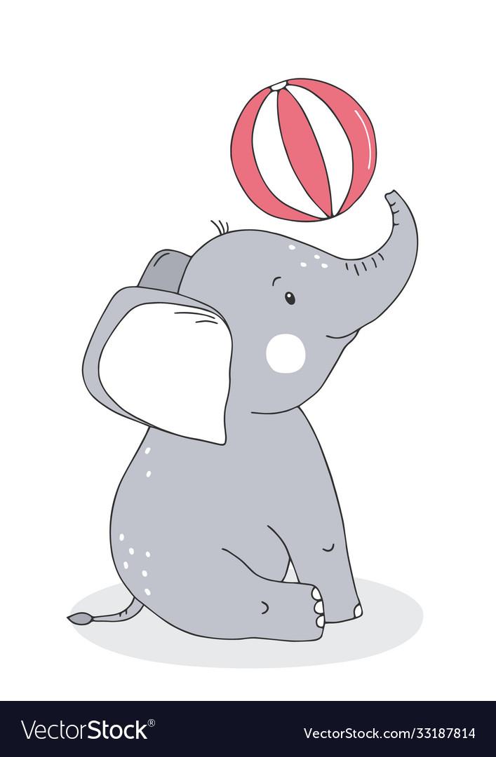 Cute baelephant with balloon