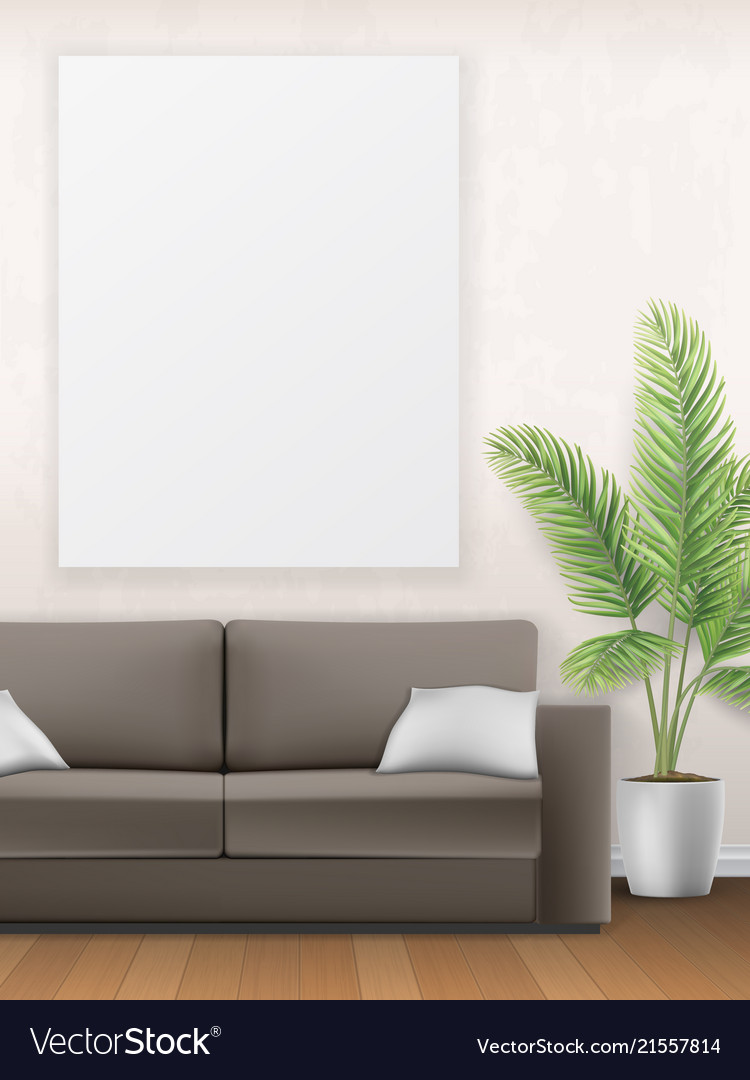 Mockup of interior with sofa palm tree and poster