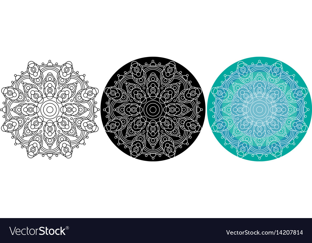 Natural mandala of circles for coloring book