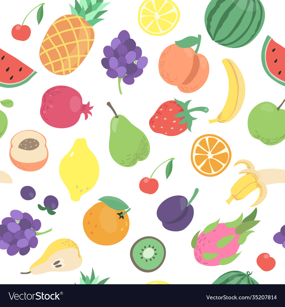 Seamless tropical doodle fruits berries pattern