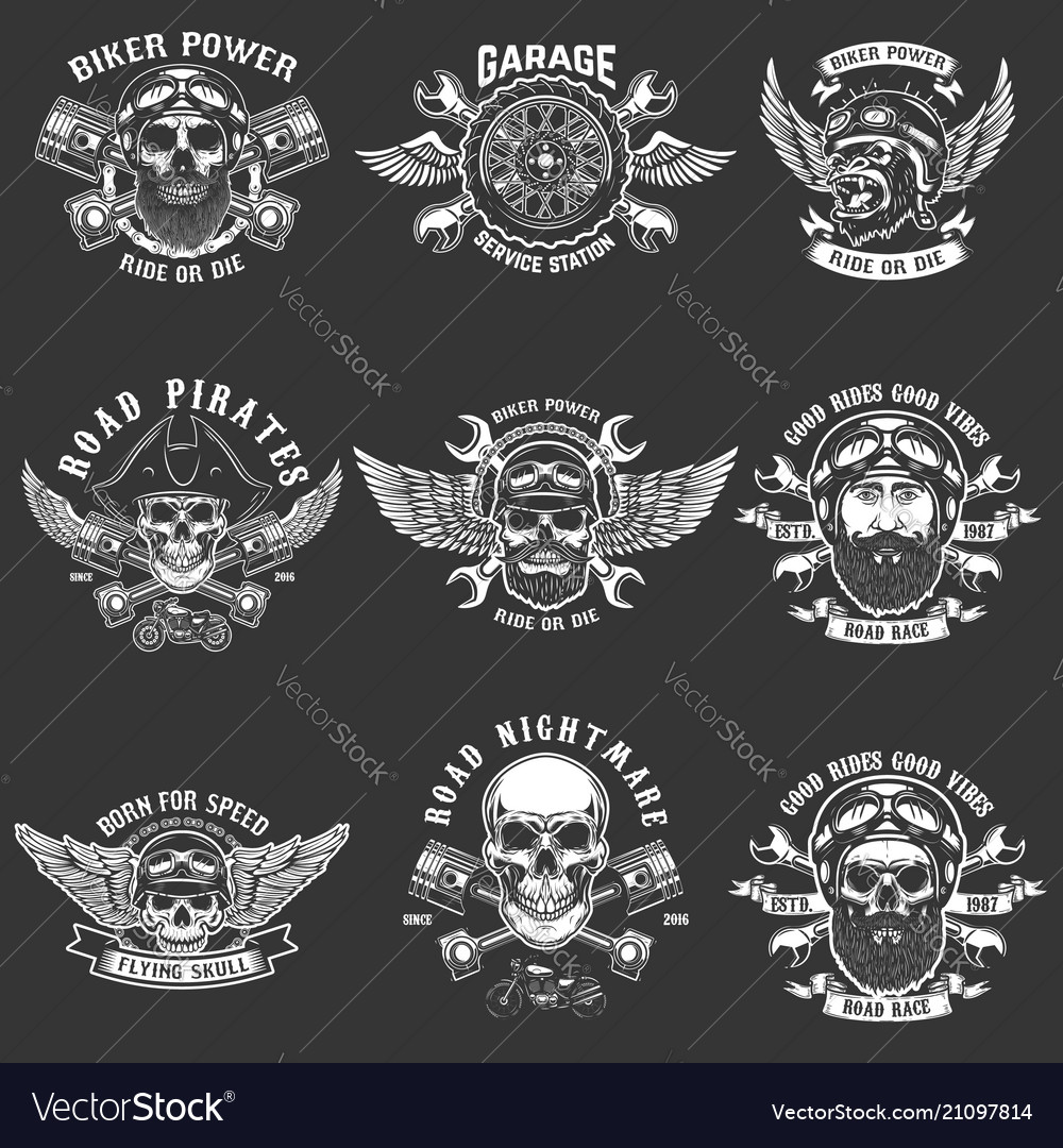 Set biker club emblem templates vintage