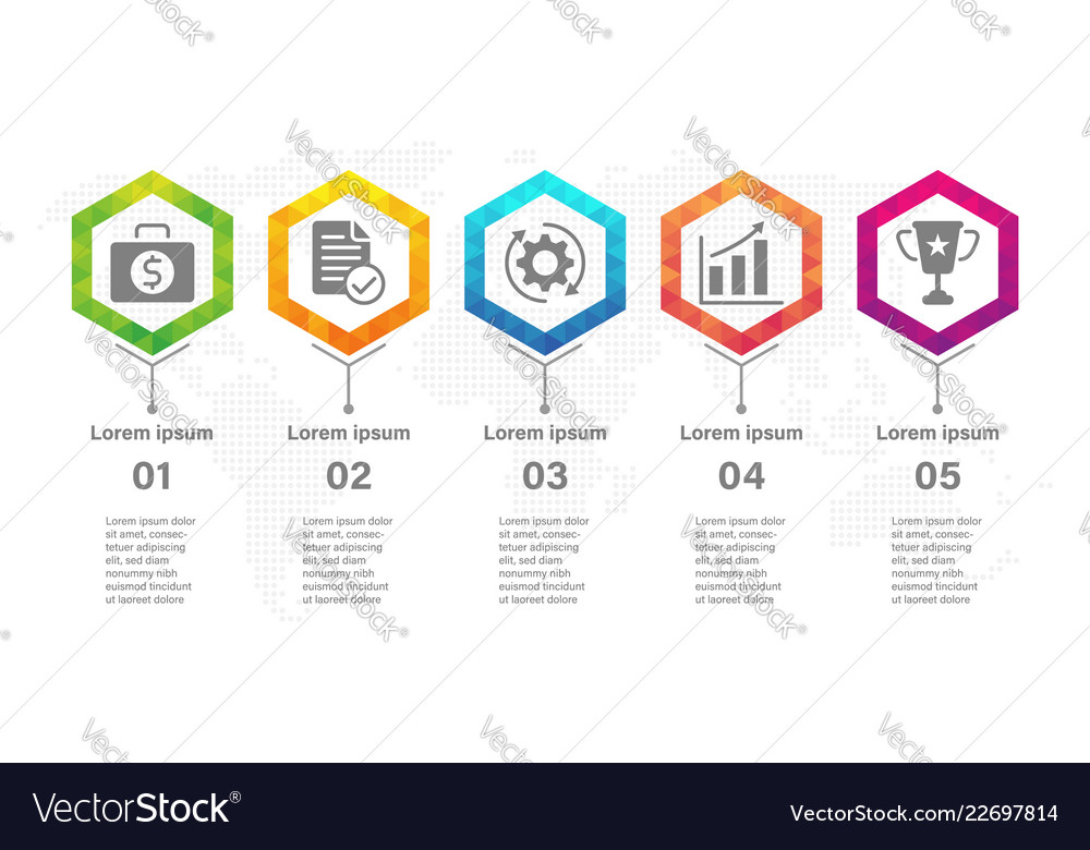 Timeline infographic design template with hexagon