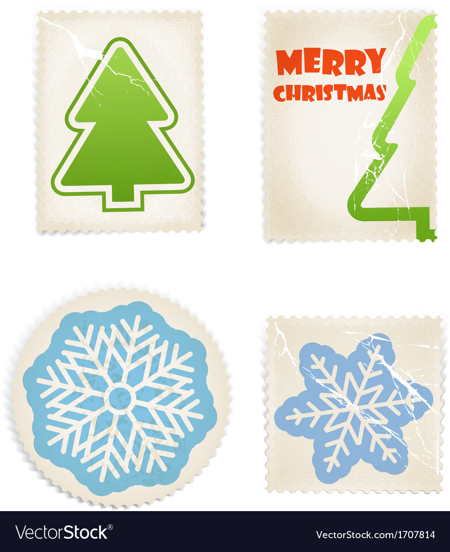Vintage scratched post stamps woth christmas signs vector image