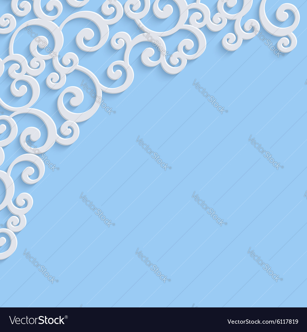 Blue 3d vintage invitation card with swirl vector image stopboris Image collections