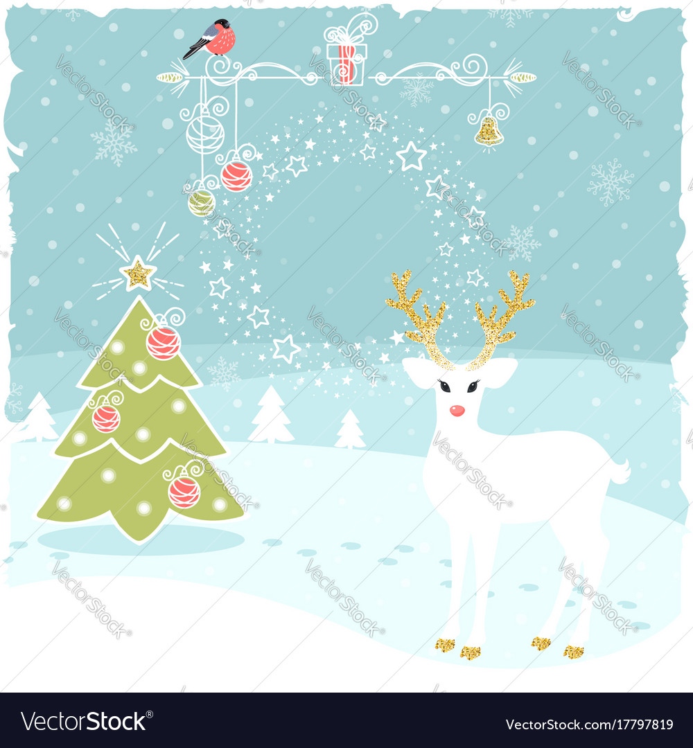 Christmas greeting background with fairy deer