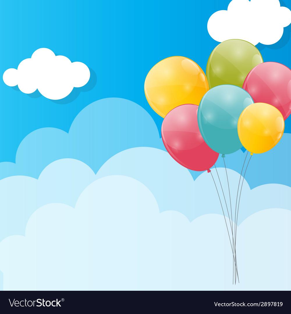 color glossy balloons against blu sky background vector image rh vectorstock com vector skydiving gear vector skyline rotterdam