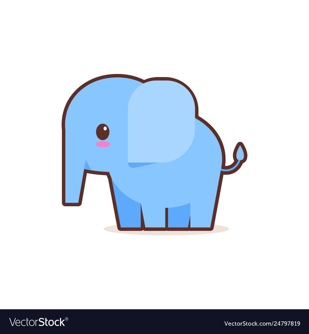 Cute little blue elephant cartoon comic character