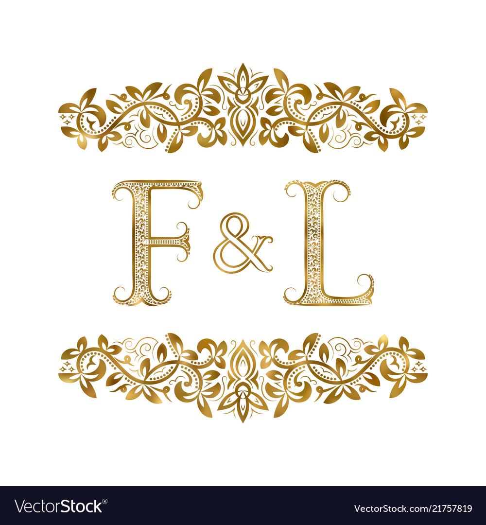 F and l vintage initials logo symbol