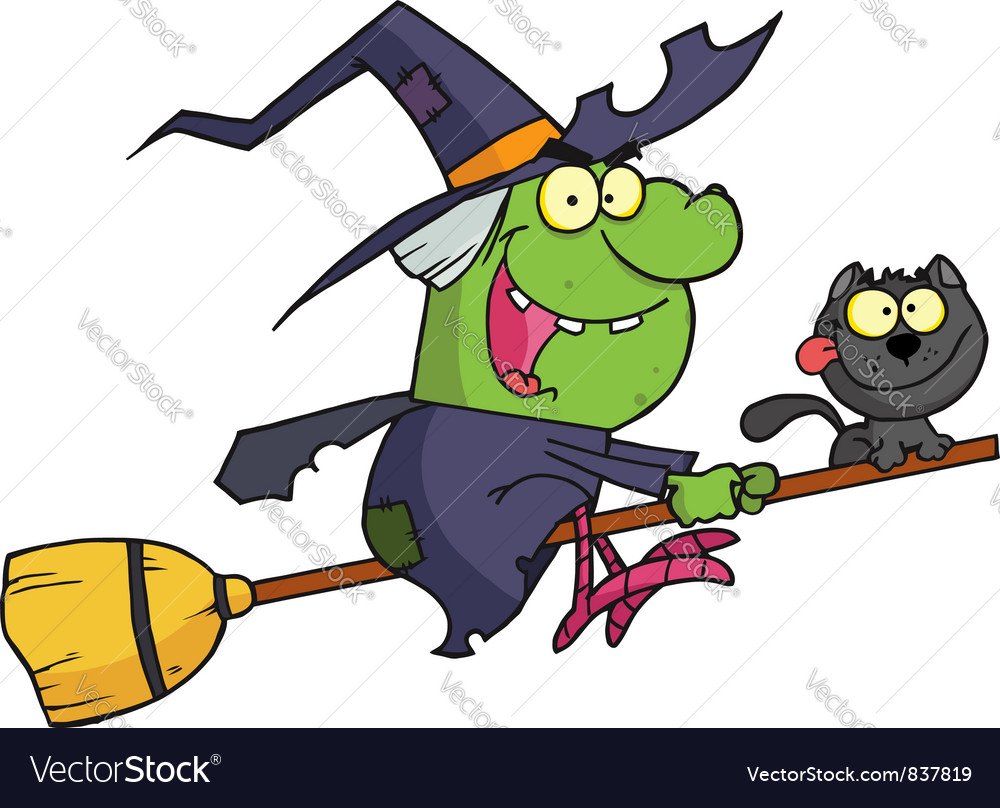 Halloween Witch And Cat Flying On A Broom Stick