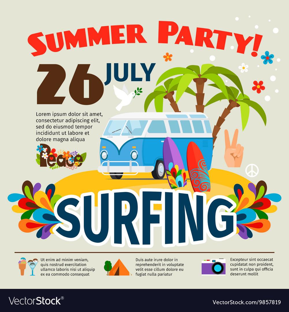 Hippie surfing poster