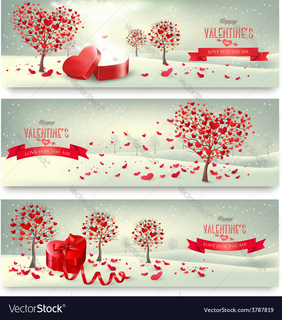 Holiday retro banners Valentine trees with