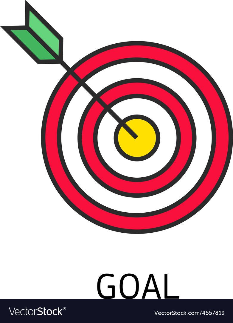 Icon flat target with dart isolated goal