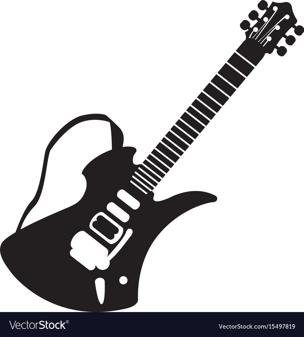 isolated guitar silhouette royalty free vector image rh vectorstock com acoustic guitar vector silhouette guitar man silhouette vector