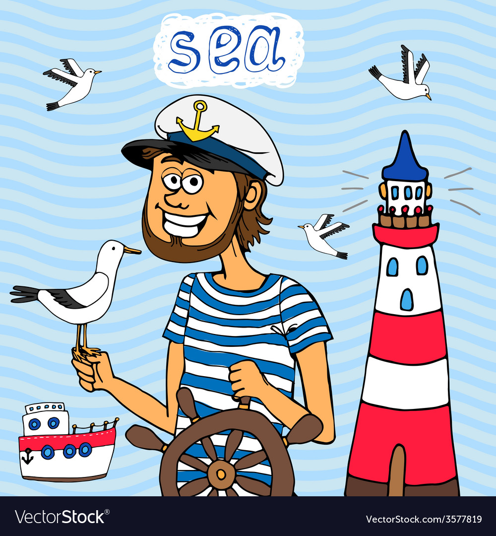 Nautical background of a captain at the wheel