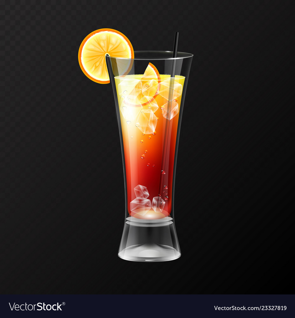 Realistic cocktail tequila sunrise glass