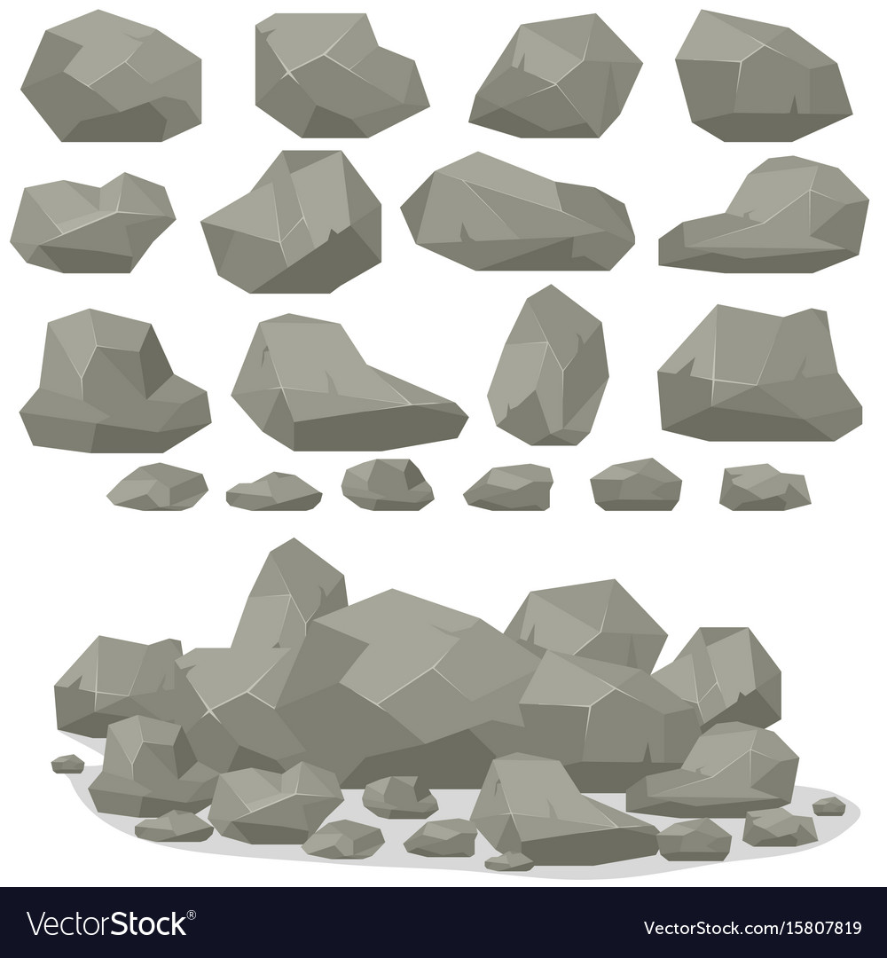 Rock stone cartoon in isometric 3d flat style set vector image