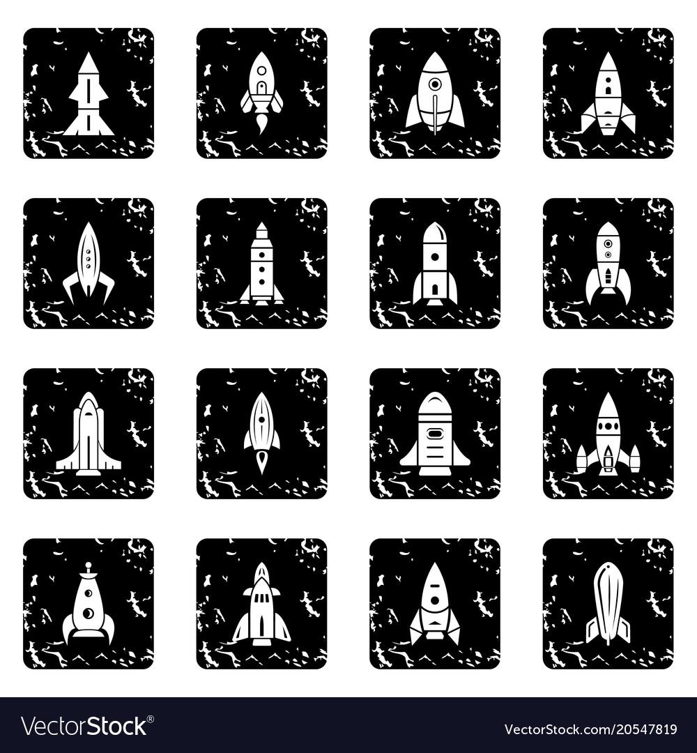 Rocket icons set grunge
