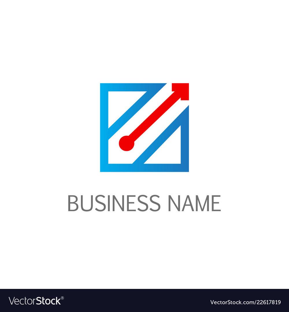 Square line arrow business logo