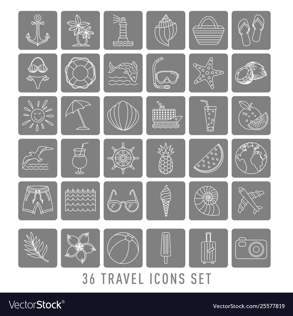 Summer set 36 travel icons thin line style