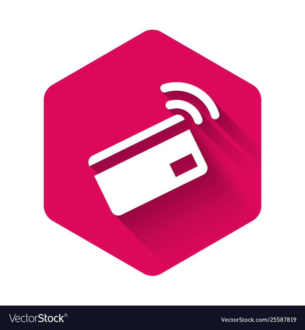 White contactless payment with nfc card icon