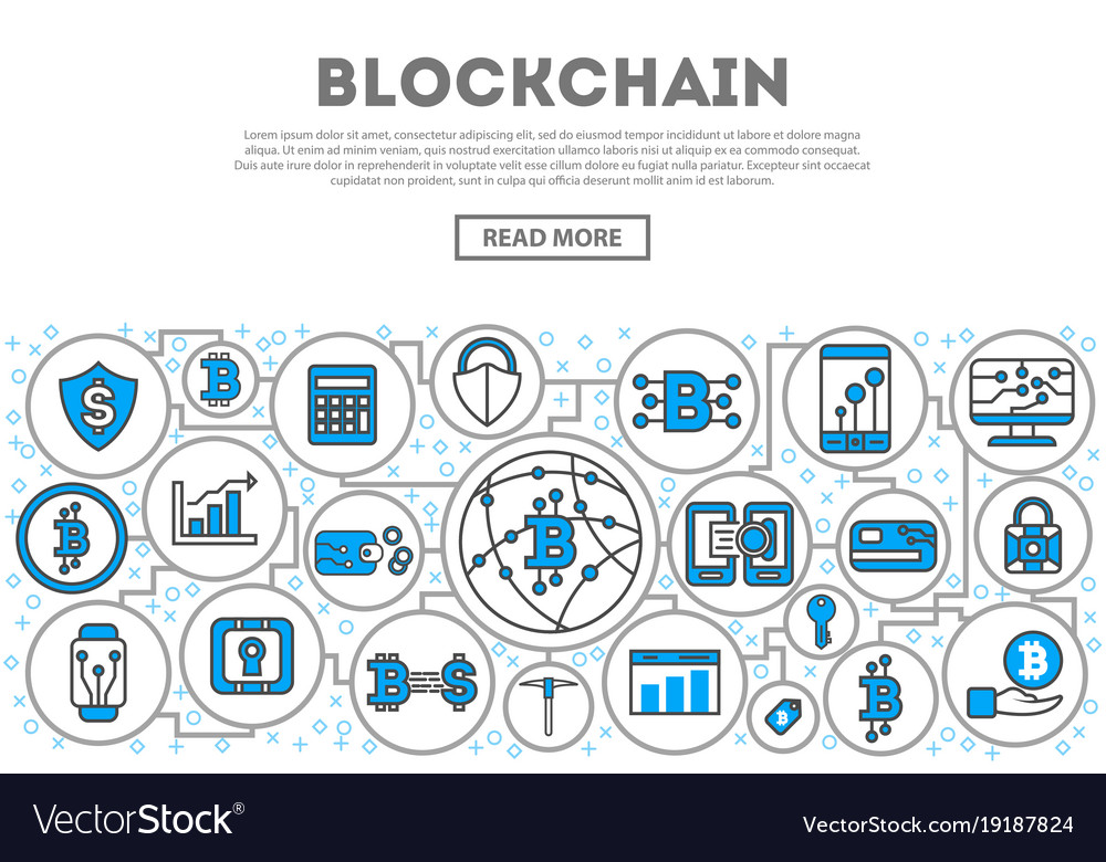 Blockchain network linear style infographics